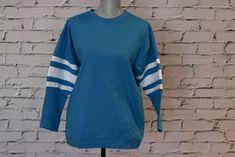 Blue Varsity Sweater Varsity Sweater, Salt And Light, Soft Fabrics, Autumn Fashion, Long Sleeve, Casual, Sleeves, Sweaters, Mens Tops