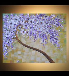 Textured Art Original Contemporary Fine Art Abstract Blooming Tree Painting Palette Knife Artwork 18x24 Float Canvas Home Office Wall Art by ZarasShop
