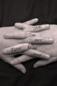 save the date idea.. Get a shot with the ring in there !