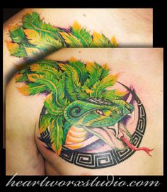 Quetzalcoatl (Mayan/Aztec deity) on chest/shoulder tatt