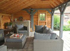 Kapschuur & overkapping | Landelijke Bouwstijl Outdoor Lounge, Outdoor Rooms, Outdoor Living, Outdoor Furniture Sets, Outdoor Decor, Patio Gazebo, Backyard Patio, Backyard Landscaping, Garden Living