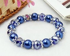 Blue Pearls and Glass Beads Bracelet