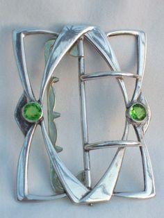 ANTIQUE ART NOUVEAU SECESSIONIST SILVER & PERIDOT BUCKLE | eBay