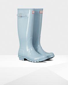 d8ec3fc78024 Hunter Women s Original Tall Glossy Rain Boots - Porcelain Blue Alexandra  Pereira