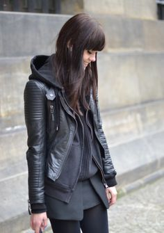 black hoodie leather jacket.