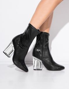 Stretchy tight leather Figment boot ( exclusive to Pixie Market) high ankle  boot with cryctal block heel and zipper closure. By Jeffrey Campbell. a5214c62085