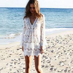 Blanco de Encaje de Ganchillo Beach swimwear 2016 Moda V Cuello de Manga Larga Túnica de Las Mujeres Ahueca Hacia Fuera el Mini Vestido de la Playa