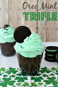 This Oreo Mint Trifle is an easy dessert to put together & is a great option for a fun & tasty St Patrick's Day treat!