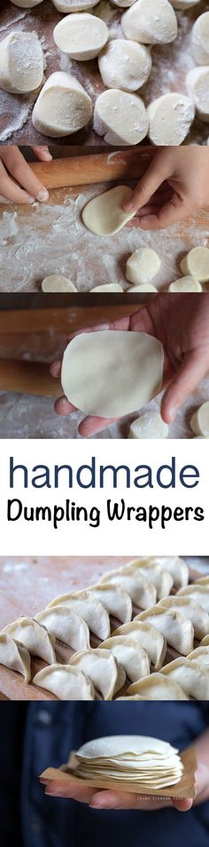 Homemade dumpling wrappers for water boiled dumplings, steamed dumplings or potstickers - food_drink Steamed Dumplings, Homemade Dumplings, Chinese Dumplings, Gluten Free Dumplings, Steamed Buns, Asia Food, Dumpling Wrappers, Potsticker Wrappers, Wonton Wrappers