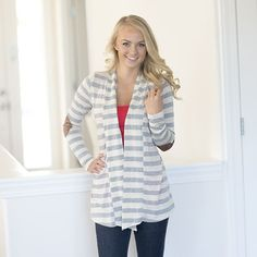 Our new Best Selling Striped Elbow Patch Cardigans are lightweight and stylish!