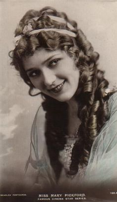 Mary Pickford head shot... love the ribbon headband with her beautiful locks