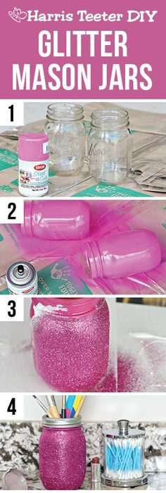 Add a little sparkle to your daily beauty regimen! This glitter mason jar is perfect for storing makeup brushes, but could also be used for craft supplies or cooking utensils. Glitter Mason Jars, Mason Jar Gifts, Painted Mason Jars, Mason Jar Diy, Spray Paint Mason Jars, Mason Jar Bank, Pink Mason Jars, Diy For Kids, Crafts For Kids
