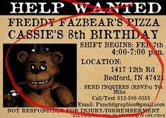This listing is for 16 total Five Nights at Freddy's custom birthday invitations.  The style of the invitation is made to look like a wanted ad in a newspaper (See image for more detail).  The invitat