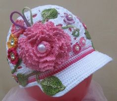 Discussion on LiveInternet - Russian Online Diaries Service Crochet hat for girls. It's got an Irish Crochet twist to it. crochet cute caps and hats for your baby ** Knitting for children HOOK Crochet Flower Hat, Bonnet Crochet, Crochet Cap, Irish Crochet, Crochet Baby Clothes, Crochet Baby Hats, Crochet Beanie, Baby Knitting, Knitted Hats