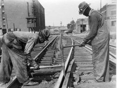 """African-American track workers labored long, hard hours. They were known as """"gandy dancers"""" and used rhythmic songs and chants to maintain motion and unity necessary to move sections of rail, hammer spikes, and perform other back-breaking labor to build our nation's rails."""