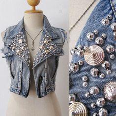 Frayed Crop Punk Acid Wash Denim Vest