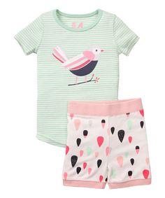 Look what I found on #zulily! Mint & Cream Bird Tee & Shorts - Infant, Toddler & Girls #zulilyfinds