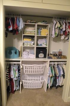 Try laundry baskets to help organize and add storage to a closet like Around the Farmhouse Table did for this baby nursery! Closet Organizing Hacks and Tips. Home Improvement and Spring Cleaning Ideas for your Nest. Ideas on Frugal Coupon Living. Organizar Closet, Kid Closet, Shared Closet, Master Closet, Closet Redo, Corner Closet, Closet Hacks, Laundry Closet, Closet Doors