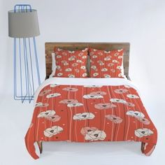 Amazon.com: DENY Designs Heather Dutton Red Poppy Field 1 Duvet Cover, Twin: Bedding & Bath