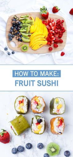 Complete with sweet, sticky coconut rice, fruit rolls, and of course—fresh fruit and berries, this recipe for Fruit Sushi is like an explosion of delicious flavors. Bring the kids into the kitchen to make such a fun and creative snack idea. Dessert Sushi, Fruit Sushi, Candy Sushi, Fruit Snacks, Fruit Recipes For Kids, Sushi Recipes, Healthy Snacks For Kids, Vegan Snacks, Snack Recipes