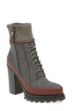 Free shipping and returns on gx by GWEN STEFANI 'Trial' Platform Bootie (Women) at Nordstrom.com. A ribbed-knit cuff and razor-lugged sole add to the rustic appeal of a pointy-toe bootie that emboldens your everyday style.