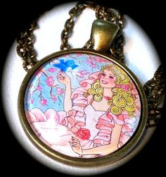 PEACHES 'n CREAM BARBIE . Glass Pendant Necklace . by girlgamegeek, $11.11