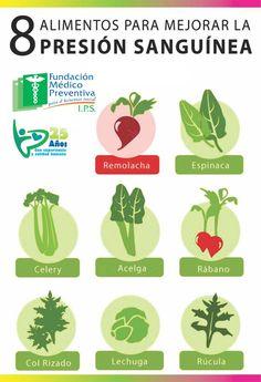 8 alimentos para mejorar la presión sanguínea. #remedios #salud #saludable #infografía #infographic