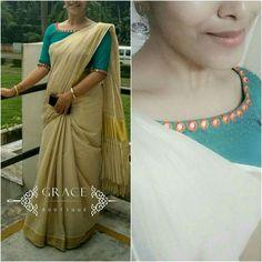 Blouse design Kerala Saree Blouse Designs, Saree Blouse Neck Designs, Bridal Blouse Designs, Ethnic Outfits, Indian Outfits, Saree Styles, Blouse Styles, Plain Saree With Heavy Blouse, Set Saree