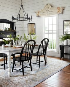 Modern Farmhouse Dining Room Decor Ideas - Page 24 of 51 - Afifah Interior Farmhouse Dining Room Rug, Dining Room Furniture, Farmhouse Decor, Dining Room Rugs, White Farmhouse Table, White Dining Table, Furniture Ideas, Farmhouse Ideas, Room Chairs