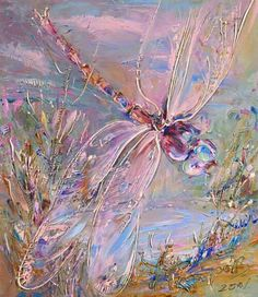 Over the lake - Art Kaleidoscope Dragonfly Art, Dragonfly Tattoo, Dragonfly Painting, Lake Art, Insect Art, Palette Knife Painting, Painting Inspiration, Les Oeuvres, Creative Art