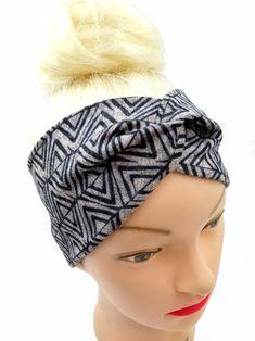 Black Headband, Twist Headband, Turban Headbands, Knot Headband, Fleece Patterns, Ear Warmer Headband, Geometric Fabric, Retro Fabric, Cotton Fleece