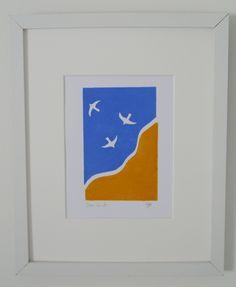 Sea birds lino print