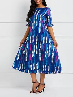 Mid-Calf Half Sleeve Off Shoulder Pullover Expansion Dress at Diyanu Plus Size Spring Dresses, Casual Dresses Plus Size, Spring Dresses Casual, Plus Size Outfits, Dress Casual, Casual Outfits, Spring Outfits, Tight Dresses, Latest African Fashion Dresses