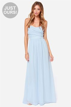 """LuLu*s Exclusive! Be the center of attention and the queen of the scene in the Royal Engagement Strapless Light Blue Maxi Dress! This soft chiffon maxi dress has elegant panels crisscrossing over a sweetheart bodice (with lightly padded cups), creating a gorgeous pairing with the long flowing maxi skirt that drapes from gathering at the waist. Hidden back zipper. Fully lined. Model is 5'9"""" and is wearing a size X-small. 100% Polyester. Hand Wash Cold or Dry Clean. Made with Love in the…"""