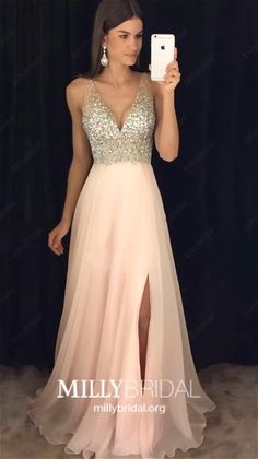 Pink Prom Dresses Long, 2019 Sparkly Prom Dresses With Slit, Chiffon Prom Dresses Open Back, A Line Prom Dresses V Neck Year 10 Formal Dresses, Prom Dresses Long Pink, Cheap Homecoming Dresses, Gala Dresses, A Line Prom Dresses, Junior Dresses, Pretty Dresses, Chiffon Dresses, Champagne Evening Dress