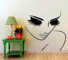 Long Shiny Hair Woman Model Beauty Salon Wall Art Stickers Mural Decal Decor GP3