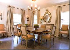 The dining room is one of my favorites – I just love everything about it – the fabrics, the curtains, the mirror, the table – just love it.  But I would have to vacuum the cat hair every day with curtains puddled on the floor.