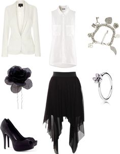 "[Requested by Hakaina ] Outfit inspired by Infinite's Myungsoo in ""The Chaser"" mv More Outfit on I Dress Kpop Get The Look : Matalan Tallulah blazer, 29€ ($38) Black Corsage Hair Pin, 3,5€ ($6) H&M Court Shoes, 29€ ($38) H&M Blouse, 10€ ($13) Rare London Mesh Skirt, 40€ ($52) Double Chain Charm Bracelet, 6€ ($8) Pandora Ring, 35€ ($45)"