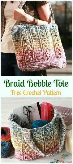 Braid Bobble Tote Bag Free Crochet Pattern - Crochet Handbag Free Patterns Instructions