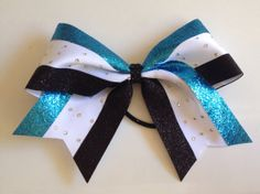 Turquoise Glitz Glam Cheer bow by MsLadysBoutique on Etsy, $14.00