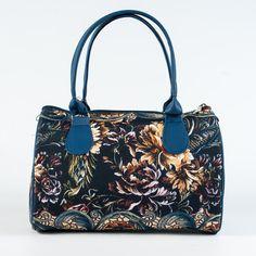 Tapestry Printed Handbag, Dark Blue Barrel Bag, Ladies Fabric Handbag, Designer Handbags for Women, Vegan Leather and Cotton Handbag, 5125 by MyBrightBag on Etsy
