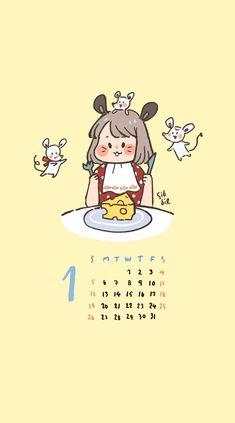 Soft Wallpaper, Kawaii Wallpaper, Funny Phone Wallpaper, Wallpaper Quotes, Cute Calendar, Calendar Wallpaper, Cute Kawaii Drawings, Simple Wallpapers, Cute Patterns Wallpaper