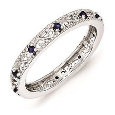 Silver Stackable Ring Created Sapphire Stones, September Birthstone Band QSK1490