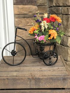 Black Metal Bicycle Planter With Silk Florals: By SimplyStems