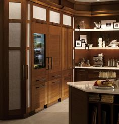 Ge Monogram Refrigerator Drawers : Fully Varnished Great Wooden Refrigerator : Great Moulded Design, Artistic Wooden Chambers, Five Floors Glass Shelves, And Elegance Glass Door With Cooper Handle