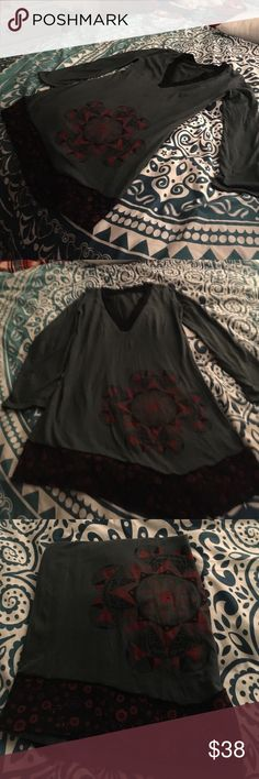 New. charcoal colored V-neck, long sleeve tunic😀 Soft, charcoal gray, with wine red accents. NWOT Tops Tunics