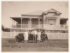 """Queenslander"" house and car, ca. 1930 photographer Sam Hood"