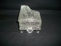EAPG Rare Clear Glass Baby Grand Piano Lidded Dish w/ Violin & Rose Garland