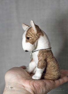 Needle felted bull terrier puppy, OOAK