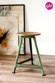 Vintage Industriehocker // vintage stool by Glänzend Weiss via DaWanda.com